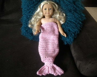 Light Pink Crochet Mermaid Tail Blanket With Sequin Thread For American Girl Doll or Most 18 inch Dolls