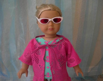 Bathingsuit, Swimwear, Swimsuit, Swimsuit Coverup, Sunglasses,3 pc. Ensemble for American Girl Doll or Most 18 inch Doll.