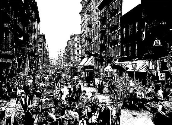 NYC new york Mulberry Street city printable art 1800s Digital graphics Image Download buildings people abstract black & white