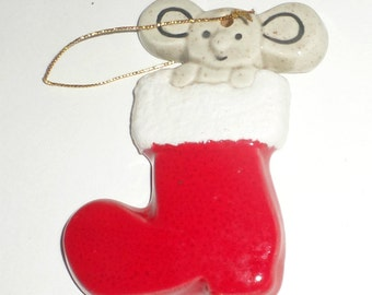 Mouse Stocking Ornament - Mouse in Stocking - Hand Painted - 1984 - Ceramic Stocking - Mouse Ornament - Stocking Ornament - Holiday Decor