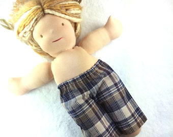 14 15 16 inch waldorf boy doll clothes, READY TO SHIP boy doll pants, Sitting Friend doll pants, waldorf doll pants, cotton plaid brown navy