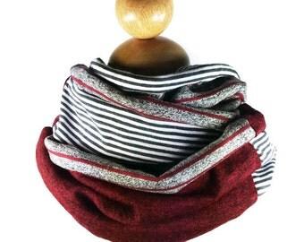 Burgundy gray black white stripes child infinity scarf, unisex circle cotton knit snood, boy girl toddler neck warmer trendy grey cowl shawl