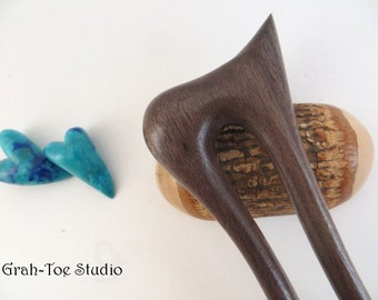 Blue Mahoe Wood Hair Fork,Wooden Hair Fork,Hairfork, Mermaids Tail Grahtoe Handmade,Hair Stick,Pitcher Top Hairforks,Hairsticks,Gift for her