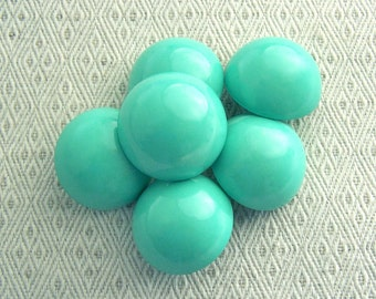Emerald Green Buttons, 28mm 1-1/8 inch - Glossy Rounded Pastel Green Shank Buttons - 6 VTG NOS Chunky Seafoam Green Sewing Button PL075 bb