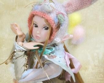 Jiajiadoll- hand knitting limited Pink bunny wonderland - pink Sleeping rabbit bunny helmet hat fits momoko misaki Fr Dorandoran Jenny