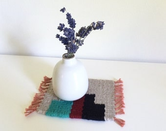 Tiny Table Textile No.3 - Grey, Red and Turquoise
