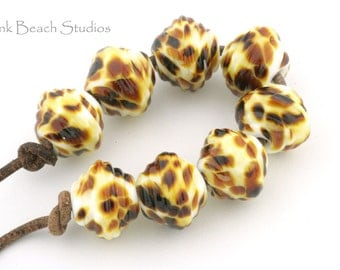 Pale Shalimar Handmade Glass Lampwork Beads (8 Count) by Pink Beach Studios - SRA (1094)