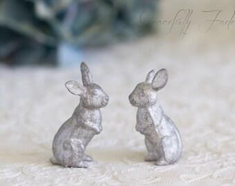 Vintage Pewter Rabbit Miniature Figurine Set of Two Woodland Creatures
