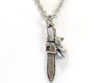 Silver Chainsaw Necklace Chainsaw Charm Necklace 513