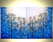 Trees Painting, Abstract Landscape, Original Large Contemporary Fine Art Acrylic, Blue Tree, Floral Tree Painting By Dan Lafferty - 30x48