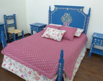 1:12 scale miniature dollhouse blue  double bed