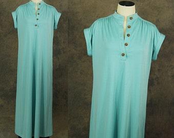 Clearance Sale vintage 70s Maxi Dress - 1970s Minimalist Baby Blue Caftan Lounge Dress Sz M L Tall Long