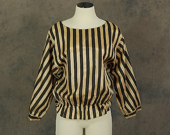 CLEARANCE vintage 80s Blouse - 1980s Black and Gold Striped Blouse Sz L XL