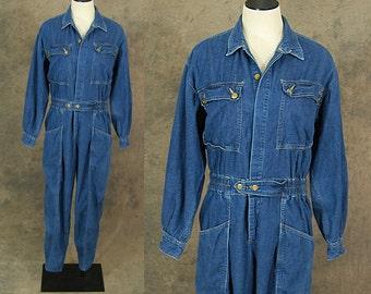 vintage 80s Denim Jumpsuit - 1980s Blue Jean Jumpsuit Coverall Sz L XL