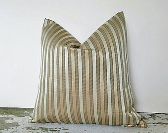 Gold Sage Striped Pillow Covers, Metallic Gold Pillow, Sage Throw Pillows, Cream Gold Sage Green Cushion, Winter Home Decor, 14x18 18x18