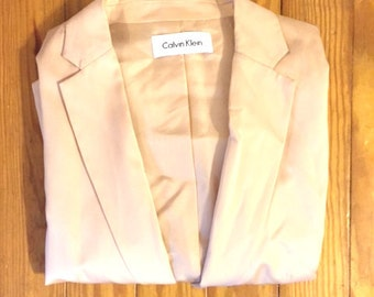 Pink Silk Calvin Klein Blazer - 90s minimalist