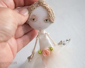 Young Rose Ballerina, Art Doll Brooch mixed media collage