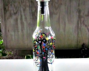 Dish Soap Dispenser,  Recycled Clear Beer Bottle, Painted Glass, Oil and Vinegar Bottle, Hand Painted  Abstract Tree with Colorful Leaves