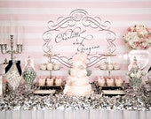 "Pink White and Black Glam printable Backdrop 72"" x 36""  - you print"