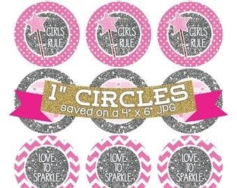 50% OFF SALE Pink Princess Crowns Digital Collage Sheet Bottlecap Images Silver Glitter Instant Download Bottle Cap Graphics One Inch Circle