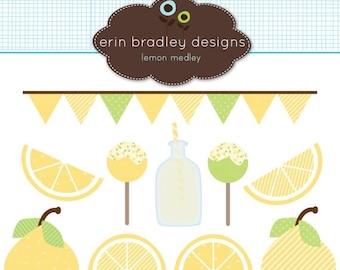 50% OFF SALE Lemons and Lemonade Clipart Graphics Commercial Use Digital Clip Art