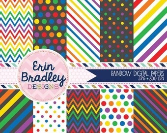 50% OFF SALE Rainbow Digital Paper Pack Rainbow Patterns Digital Scrapbook Papers Polka Dots Chevron Stripes Instant Download