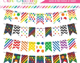 Rainbow Bunting Clipart Banner Flags Clip Art Graphics Instant Download Chevron Stripes Polka Dot Patterns Instant Download