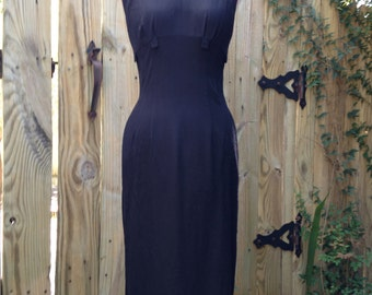 1950's Empire Waist Black Wiggle Dress with Tab Detail