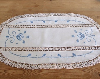 Vintage cross stitched oval serviette with lace, nostalgic embroidered table runner, blue on white roses European linen