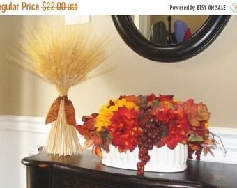 FALL WREATH SALE Fall Decoration- Xl Wheat Sheath- Thanksgiving Centerpiece- Fall Decor Mantle or Table Decor