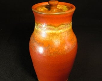 Lidded Pottery Canister - Red Brown Urn with Gold Highlights - In Stock
