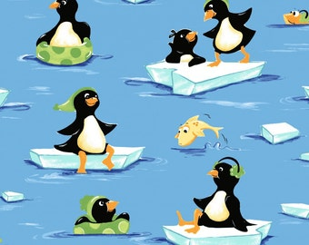 Gwyn The Penguin Tossed Penguin Cotton Fabric by Suzebee