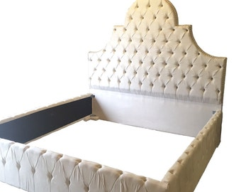 Ivory King Size Bed Off White Micro Suede Extra Tall Bed Tufted Upholstered Bed King Bed Upholstered Tufted Bed Headboard and Bed Rails