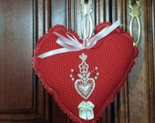 Red Heart and Venice Lace Ornament, bead  embellishment, Valentines, hanging door hanger, decorative accent