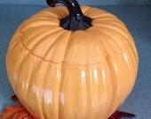 Ceramic pumpkin cookie jar  brown and orange Thanksgiving decoration, Fall decoration
