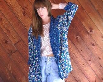 extra 25% off SALE ... Bright Blue FLORAL Slouchy Blazer Jacket - Vintage 90s - LARGE L
