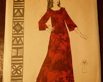 Ladies Pattern NOS Vintage Hawaii 1960s Polynesian Pattern No.192 Size 12 NOHEA Long  Dress with Long Sleeves Uncut