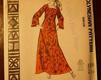 Ladies Pattern NOS Vintage Hawaii 1960s Polynesian Pattern No. 202 Size 10 KAILUA Long Caftan Dress with Long Sleeves Uncut