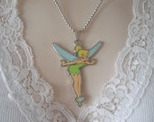 """Signed DISNEY TINKERBELL 2-3/8"""" Enamel Silvertone Metal Pendant on 18"""" Shot Bead Necklace NOS New Old Stock"""