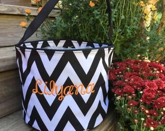 SALE.... Black and white Chevron Halloween Bucket with personalization.   Monogrammed Halloween basket. Personalized Halloween Bucket