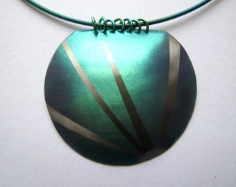 Large Domed Anodized Niobium Pendant Necklace