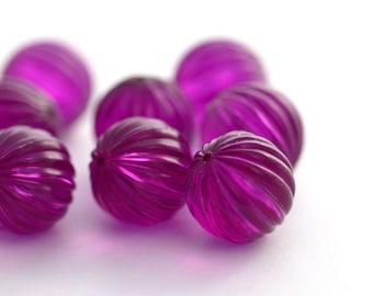 Vintage Lucite Purple Fluted Round Melon Beads 15mm (8)
