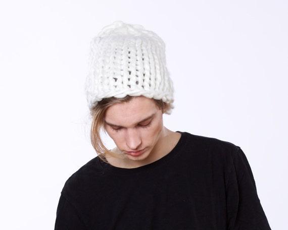 Big Slouchy Hat Super Chunky Knit Beanie Women's Large Hat Men's Chunky Knit Hat Hand Knit Bulky Size Beanie White Winter Hat Warm Hat