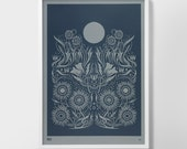 Limited Edition: Moonlight Screen Print, Moonlight Screen Print, Moonlight Wall Art, Moon Wall Decor, Flower Wall Art, Flowers Wall Decor