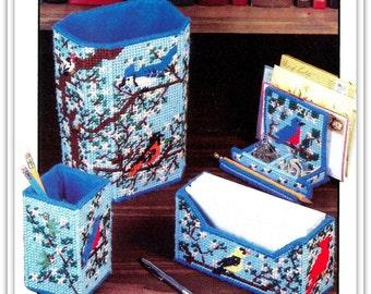 Songbirds & Blossoms Desk Set Pattern - Plastic Canvas - Cardinals, Orioles, Bluebirds - Instant Download PDF 10301387