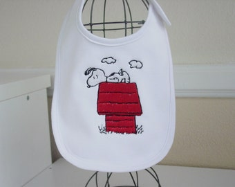 Snoopy embroidered baby bib