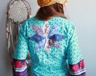 Turquoise Patchwork India Print Cotton Bell Sleeve Wrap Kimono Jacket Cardigan Sweater Boho Upcycled Festival Hippie Eco Friendly One Size