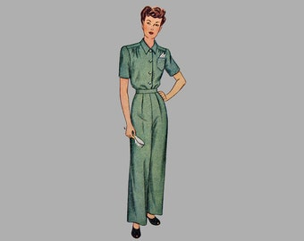 1947 Misses Pajamas pattern Simplicity 1999, Size 12, Bust 30, Two piece pajamas, long or short sleeves, Pants have waistband, Yoked blouse