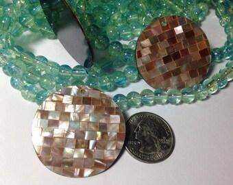 Brown Lip Mosaic Coin Pendant 35mm, Handmade