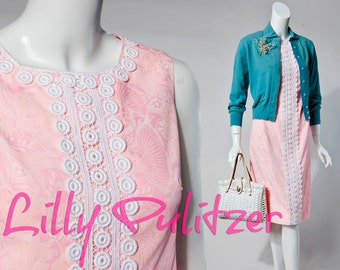 60s Lilly Pulitzer pink, white doily midi shift dress, small